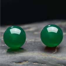 Genuine 8mm Natural Green Jadeite Jade 925 solid Silver Stud Earrings A