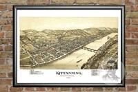 Old Map of Kittanning, PA from 1896 - Vintage Pennsylvania Art, Historic Decor