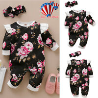 Infant Baby Boy Girl Long Sleeve Cotton Romper Bodysuit Jumpsuit Outfits Clothes