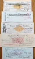 Virginia City, Montana MT FIVE DIFFERENT 1870s-1900s Checks, Imprinted Revenue