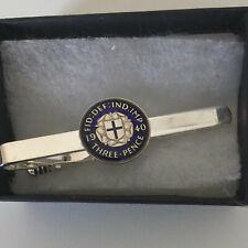 Enamelled 1940  Threepence Coin Tie Clip . Blue/Silver. 80th Birthday gift