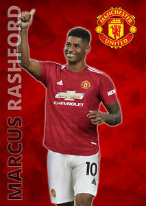 Marcus Rashford Poster Manchester United FC Football Wall Art A3 and A4