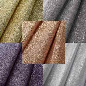 """dChunky Glitter Wallpaper Fabric Backed Rose Gold Silver Grey 56"""" Wide per metre"""