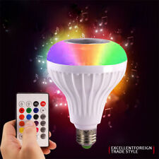 12W Wireless Bluetooth LED Bulb Light Speaker RGB Smart Music Play Lamp+Remote D