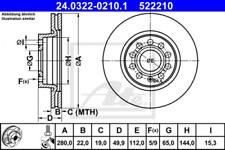 2x Bremsscheibe für Bremsanlage Vorderachse ATE 24.0322-0210.1