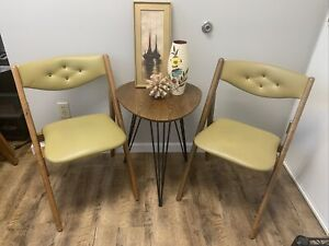 Mid Century Wood Walnut Folding Chair Stakmore Olive Color Brass Hinge Tufted