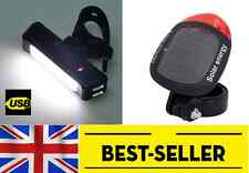 front white + rear red solar rechargeable bike lights set - powerful light UK