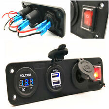 KFZ Panel Schalter Voltmeter+Dual USB Anschluss +Zigarettenanzünder+Wippschalter