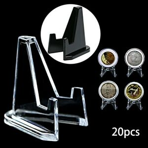 20*Plastic Coin-Display Stand RACK Clear Round Case Capsules Holder Easel