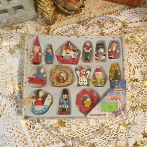 Vintage Set Of Wooden Christmas Tree Decorations - Premier - Traditional Xmas