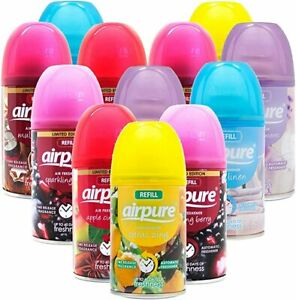 12 X AIRPURE AIR FRESHNER AUTOMATIC SPRAY REFILLS MIXED SCENTS 250 ML COMPATIBLE