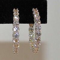 Hoop Earrings 2Ct Round Brilliant Cut D/VVS1 Diamond 14K White Gold Finish