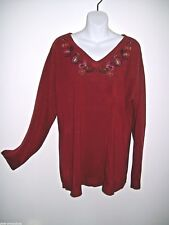 Womens Red Sweater 1X Ladies Top Embroidery Colorful Flowers Burgundy Plus Size