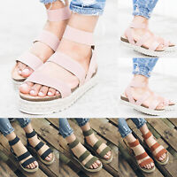 Womens Strap Sandals Espadrilles Platform Flatform Ankle Cork Wedge Summer Shoes