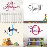 Wall Sticker Personalised Name Initial Custom Monogram Girls Boys Vinyl Decal