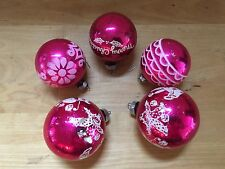 5 Vintage SHINY BRITE Glass Christmas Ornaments Balls PINK with White Mica