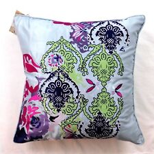 Poetic Wanderlust Tracy Porter Iris Floral Blue Faux Silk Feather Throw Pillow
