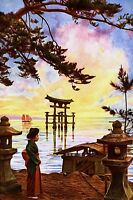 """perfect  24x36 Japanes oil painting handpainted on canvas """"lady and landcape""""830"""