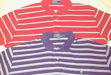 Lot Of 2 Mens Polo By Ralph Lauren Short Sleeve Golf Shirts Striped Blue Red