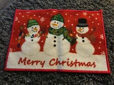 Red Snowman Door Mat Festive Christmas Novelty Snowman Xmas Doormat