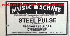 STEEL PULSE UK TIMELINE Advert - MUSIC MACHINE 2-Feb-1978 2x3 inches