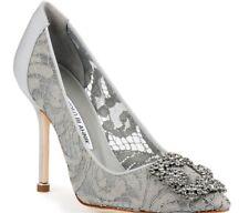 134b5a70b5691 Grey Lace Manolo Blahnik Hangisi Heels 105mm size 40
