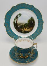 Royal Windsor Green / Gold Leaves Tea Cup & Saucer TRIO