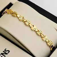 "Women's Bracelet Link Fashion Jewelry 18K Yellow Gold Filled 7.7"" Chain"