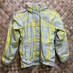 The North Face Girls Medium 10/12 HyVent Yellow Green Plaid Hooded Rain Jacket