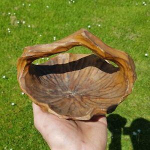 Vintage Hand Carved Walnut Wooden Small Fruit Bowl Basket