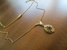 "Antique Victorian Garnet Lavalier Pendant Necklace 10k Two Colors Gold 16"" Chain"