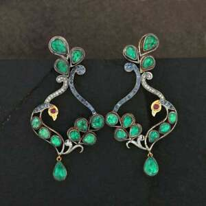 925 Sterling Silver Sapphire & Ruby Emerald Gemstone Pave Diamond Women Earring