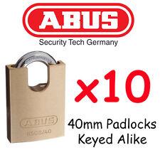 40mm Padlocks KEYED ALIKE ABUS concealed Shackle x10 BULK LOT  Quality +20 Keys