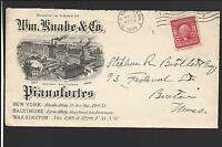 "NEW YORK,NEW YORK COVER,1908, STA. F. ADVT: ""WILLIAM KNABE & CO. PIANOS."""