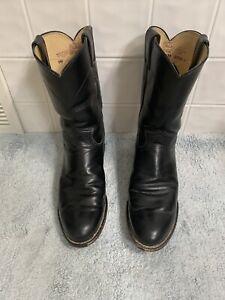 Vintage MENS JUSTIN COWBOY BLACK BOOTS SIZE 8 1/2 D