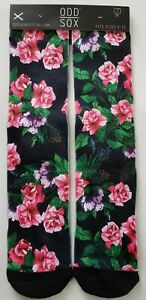 NEW! Odd Sox Men's Poly Blend Crew Socks pink flowers Size 6-13