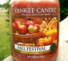 """Yankee Candle """"FALL FESTIVAL"""" ~ Large 22 oz ~ WHITE LABEL ~ NEW"""