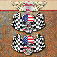 USA CHEQUERED FLAG SKULL LAMINATED STICKERS x2 140x90mm Car Motorbike American