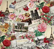 Paris ~ Eiffel Tower~Roses ~ Parisian Dream City~ Travel ~  Fabric ~ 1/2 yard