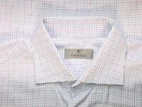 Canali 1934 Silver Label White Micro Check Cotton Spread Dress Shirt Sz 16