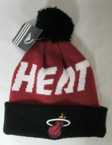 Adidas Miami Heat Kids Size 4-7 Winter Beanie Hat Cap Hat w/Pom E1 1136