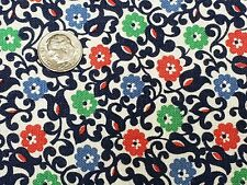 Best Vintage Feedsack Quilt Fabric 40s Tiny Floral Red Navy + Flour Full Sack