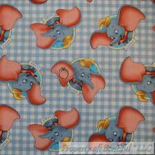 BonEful FABRIC Cotton Quilt Gray White Baby Boy Girl Disney DUMBO Elephant SCRAP
