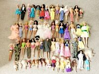Lot of 58 Vintage Barbie DOLLS 1950s-1970s Bubbles Ken Swirl FQ With Clothes