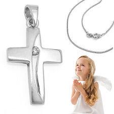 Weißgold 333 Kinder Zirkonia Kreuz weiß Anhänger Kommunion Firmung Taufe Baby