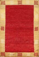 RED Modern Gabbeh Kashkoli Oriental Area Rug Hand-knotted Kitchen Carpet 4'x6'