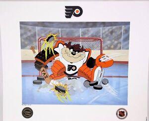 Looney Tunes Taz Philadelphia Flyers Devil of a Save NHL Hockey Toon Art Litho