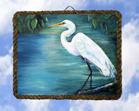 Tropical Beach Ocean 60 Sea Bird Egret Decor Wood Signs Welcome lalarry framed