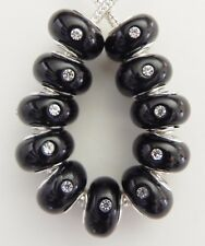 10 Black w/ Stones Double Core Glass Beads Fits European 9 * 14 & 5 mm Hole B128
