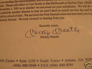 Mickey Mantle SIGNED 1992 Starlight Golf Invite JSA LOA